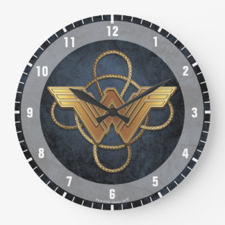 Wonder Woman Gold Symbol Over Lasso Large Clock