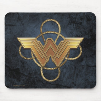 Wonder Woman Gold Symbol Over Lasso Mouse Pad