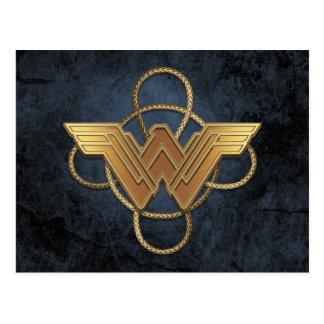 Wonder Woman Gold Symbol Over Lasso Postcard
