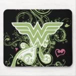 Wonder Woman Green Swirls Logo Mouse Pads