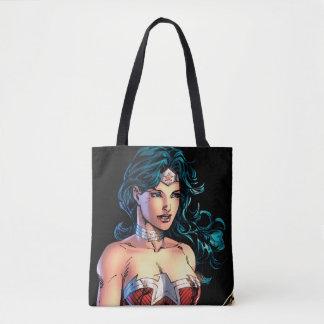 Wonder Woman Gripping Lasso Atop Rock Tote Bag