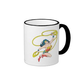 Wonder Woman Holds Lasso 3 Ringer Mug