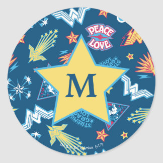 Wonder Woman Icons & Phrases Pattern   Monogram Classic Round Sticker