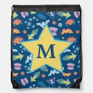 Wonder Woman Icons & Phrases Pattern | Monogram Drawstring Bag