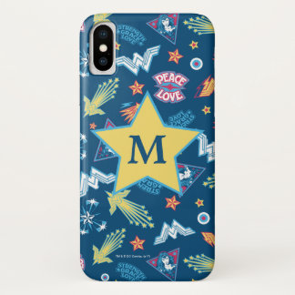 Wonder Woman Icons & Phrases Pattern | Monogram iPhone X Case