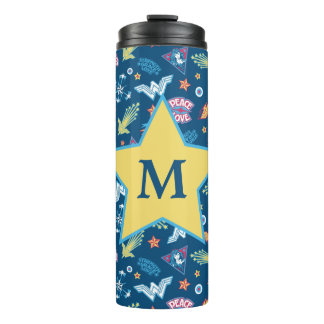 Wonder Woman Icons & Phrases Pattern | Monogram Thermal Tumbler