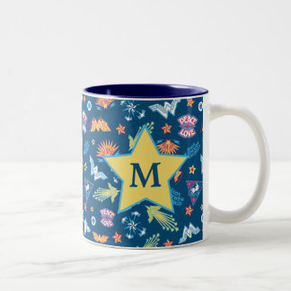 Wonder Woman Icons & Phrases Pattern | Monogram Two-Tone Coffee Mug