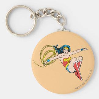 Wonder Woman Jumping Basic Round Button Keychain