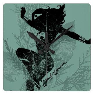 Wonder Woman Landing Foliage Graphic Wall Clock