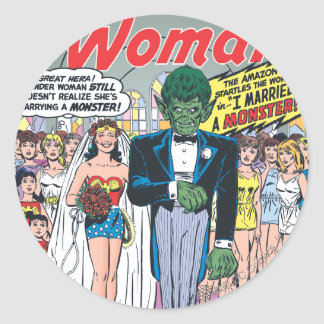 Wonder Woman Married a Monster Classic Round Sticker