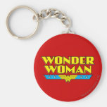 Wonder Woman Name and Logo Basic Round Button Keychain