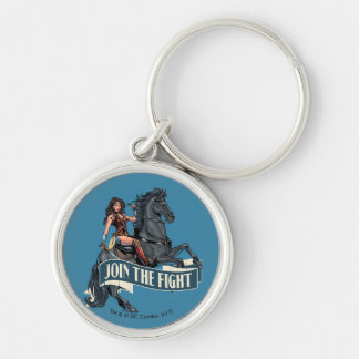 Wonder Woman on Horse Comic Art Silver-Colored Round Keychain