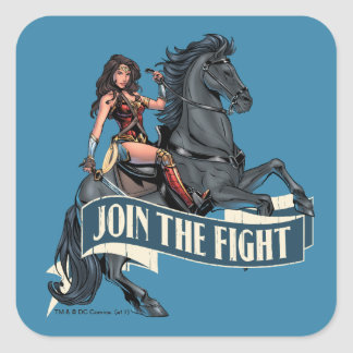 Wonder Woman on Horse Comic Art Square Sticker