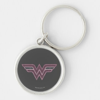 Wonder Woman Pink and Black Checker Mesh Logo Keychain