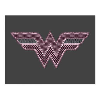 Wonder Woman Pink and Black Checker Mesh Logo Postcard