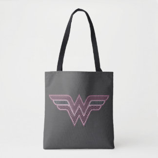 Wonder Woman Pink and Black Checker Mesh Logo Tote Bag