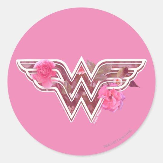 Wonder Woman Pink Camellia Flowers Logo Classic Round Sticker