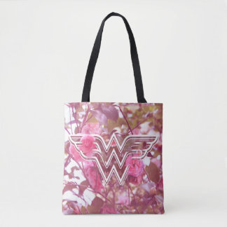 Wonder Woman Pink Camellia Flowers Logo Tote Bag