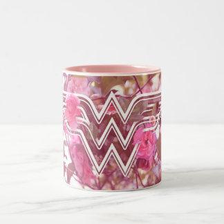 Wonder Woman Pink Camellia Flowers Logo Two-Tone Coffee Mug