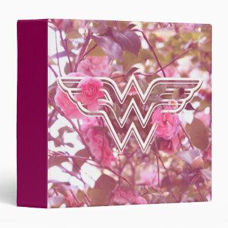 Wonder Woman Pink Camellia Flowers Logo Vinyl Binder