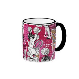 Wonder Woman Pink Pattern Ringer Coffee Mug