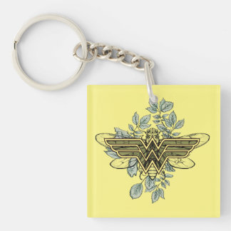 Wonder Woman Queen Bee Logo Double-Sided Square Acrylic Keychain
