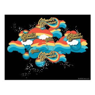 Wonder Woman Rainbow Clouds Pattern Postcard