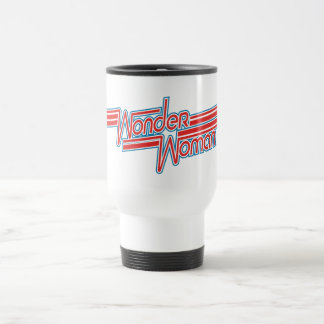 Wonder Woman Red and Blue Stripe Logo Travel Mug