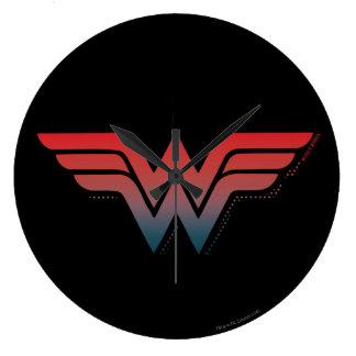 Wonder Woman Red Blue Gradient Logo Clock