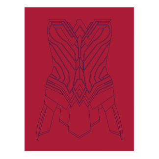 Wonder Woman Red & Navy Armor Outline Postcard