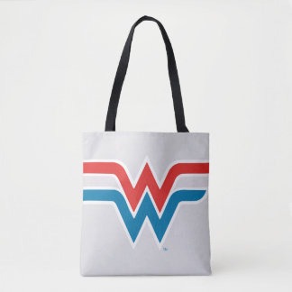 Wonder Woman Red White and Blue Logo Tote Bag