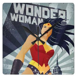 Wonder Woman Retro City Sunburst Wall Clocks