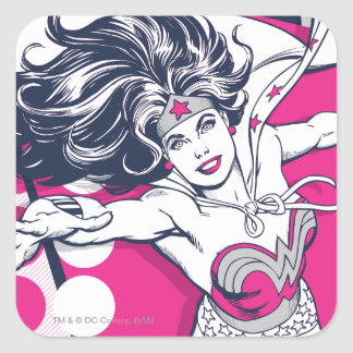 Wonder Woman Retro Glam Character Art Square Sticker