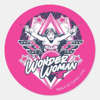 Wonder Woman Retro Glam Rock Graphic Classic Round Sticker