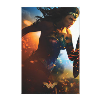 Wonder Woman Running on Battlefield Canvas Print
