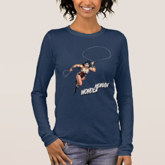 Wonder Woman Running With Lasso Long Sleeve T-Shirt