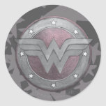 Wonder Woman Shield Pattern Round Sticker