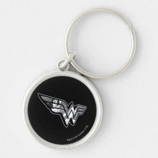 Wonder Woman Sitting In Angled Lace Logo Silver-Colored Round Keychain