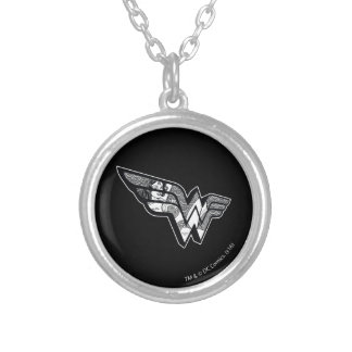 Wonder Woman Sitting In Angled Lace Logo Silver Plated Necklace