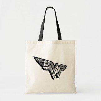Wonder Woman Sitting In Angled Lace Logo Tote Bag