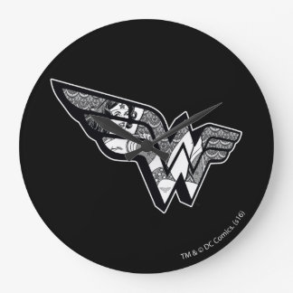 Wonder Woman Sitting In Angled Lace Logo Wallclock