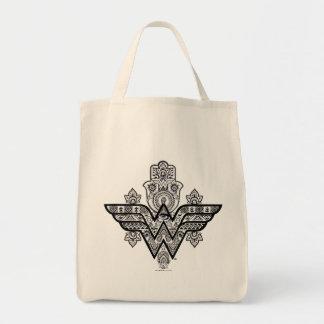 Wonder Woman Spiritual Paisley Hamsa Logo Tote Bag
