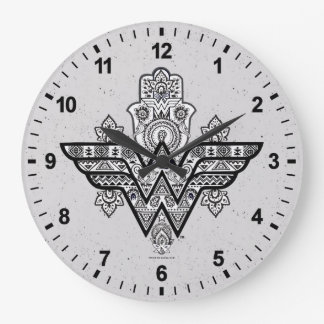 Wonder Woman Spiritual Paisley Hamsa Logo Wallclock