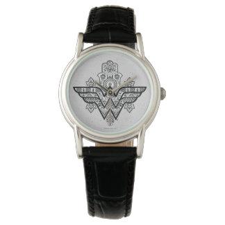 Wonder Woman Spiritual Paisley Hamsa Logo Wristwatch