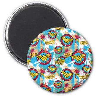 Wonder Woman Spray Paint Pattern 2 Inch Round Magnet