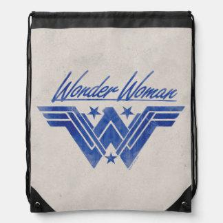 Wonder Woman Stacked Stars Symbol Drawstring Bag
