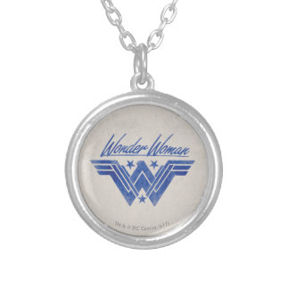 Wonder Woman Stacked Stars Symbol Silver Plated Necklace