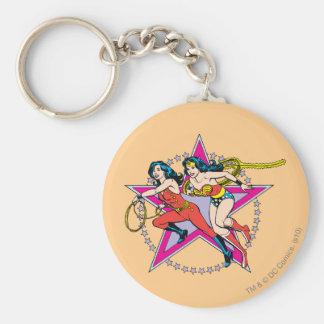Wonder Woman Star Background Basic Round Button Keychain