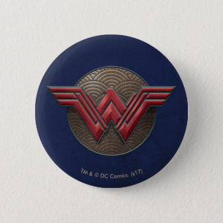 Wonder Woman Symbol Over Concentric Circles 2 Inch Round Button