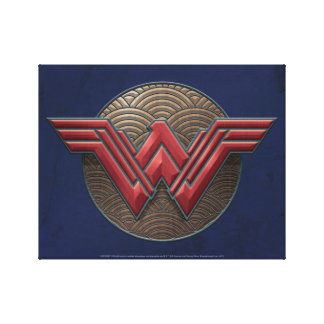Wonder Woman Symbol Over Concentric Circles Canvas Print